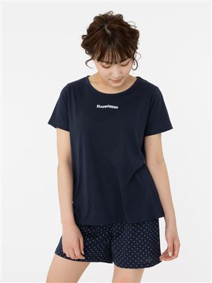 HappinessロゴT×ドットボトムパジャマ(半袖・1分丈パンツ)|パジャマ