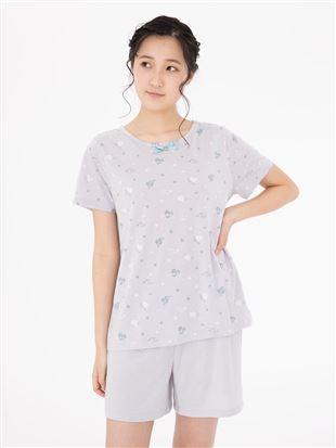 天竺レトロハート柄半袖パジャマ|パジャマ