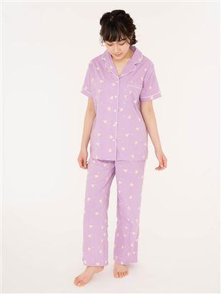 レーヨン布帛くま前開き半袖パジャマ|パジャマ