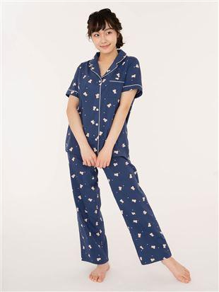 レーヨン布帛くま前開き半袖パジャマ|