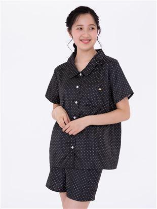 サテンピンドット前開き半袖パジャマ|