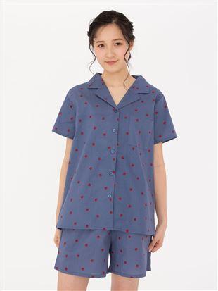 布帛イチゴ柄前開半袖パジャマ|パジャマ