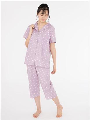 ネコ柄衿付き前開き半袖パジャマ|パジャマ