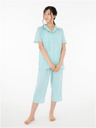 チェック柄コットンパジャマ(半袖・7分丈パンツ)|