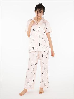 猫柄サテンパジャマ(半袖)|