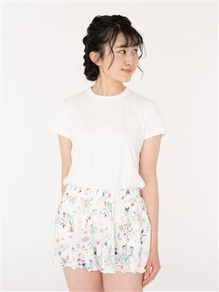 レーヨン天竺花柄フレアパンツ|