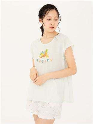 フルーツ英字フレアTシャツ|トップス
