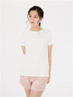 ハートモチーフスムース綿Tシャツ|トップス