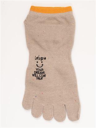 綿混スマイル刺繍5本指くるぶしソックス|5本指ソックス