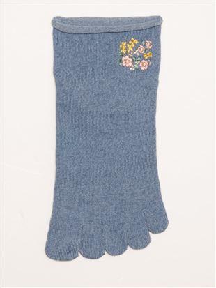履き口ゆったり花刺繍5本指くるぶしソックス|