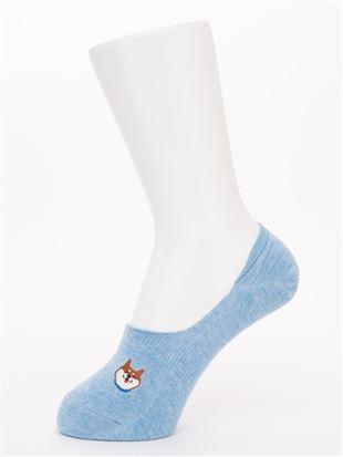 にっこり柴犬刺繍綿混深履きカバーソックス|