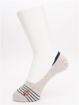 碇刺繍ボーダー深履き綿混カバーソックス|カバーソックス・フットカバー