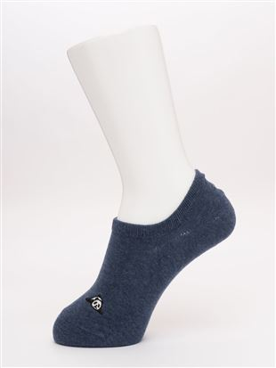 メランジ左右違いパンダ刺繍ローカット綿混くるぶしソックス|スニーカー(くるぶし)ソックス