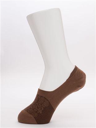 フロート花柄綿混深履きカバーソックス|カバーソックス・フットカバー