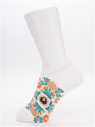 綿混メキシコ花総柄くるぶしソックス|