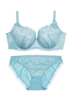 [運命のブラ]ミアシャイニーブラセット(大きな胸を小さく見せるタイプ)|3/4カップのブラ&ショーツセット