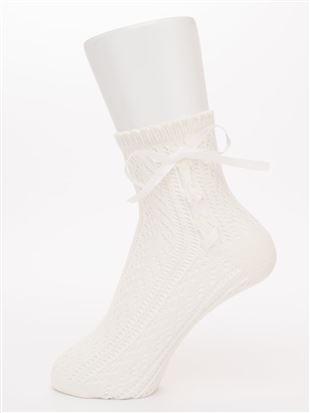 ルミーサイドグログランリボン編み上げソックス14cm丈|