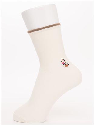 履き口ゆったりワンポイント猫刺繍温調ソックス16.5cm丈|クルーソックス