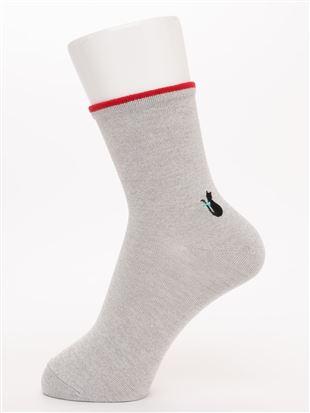 履き口ゆったりワンポイント猫刺繍温調ソックス16.5cm丈 クルーソックス