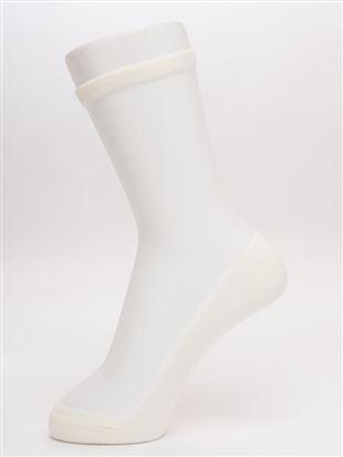 足底綿シースルーソックス19cm丈|クルーソックス