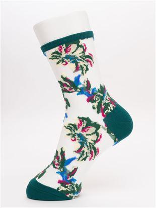 シースルーリゾート大花柄ソックス17cm丈|クルーソックス