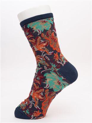光沢糸フロート多色花ソックス17cm丈|クルーソックス