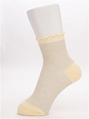 [レディライン]ナイロンラメフロート履き口メローソックス12cm丈|クルーソックス