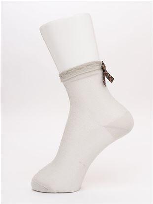 [レディライン]履き口フリルバックヒョウ柄リボン付きラメソックス14cm丈|