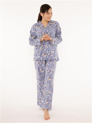 綿フランネル花柄パジャマ|
