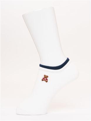 綿混クマ刺繍くるぶしソックス|スニーカー(くるぶし)ソックス