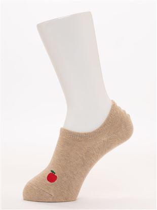 左右柄違いハリネズミとりんご刺繍ローカットくるぶしソックス|スニーカー(くるぶし)ソックス
