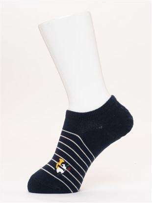 綿混パンダ刺繍ボーダーローカットくるぶしソックス|スニーカー(くるぶし)ソックス