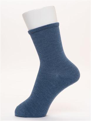 [ちょうどいい靴下]幅広口ゴム直角ヒール無地温調ソックス16cm丈|クルーソックス