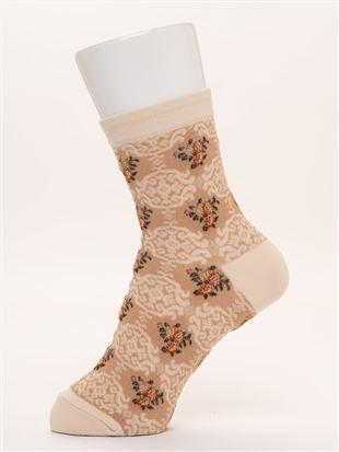 [レディライン]フロートゴブラン風花柄ソックス15cm丈|クルーソックス