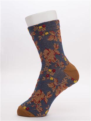 [レディライン]ラメフロート花柄クルー15cm丈|クルーソックス