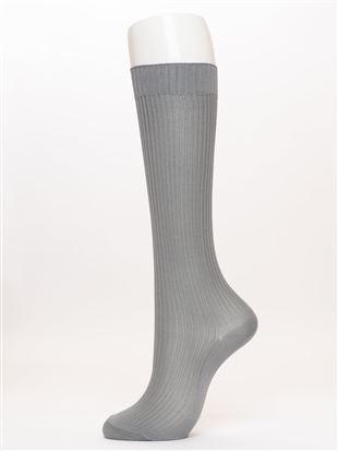 光沢糸リブソックス35cm丈|