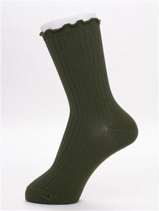 [レディライン]履き口メロー逆あぜリブソックス18cm丈|クルーソックス
