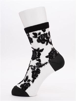 履き口ベロア風ローズ総柄シースルーソックス15cm丈|クルーソックス