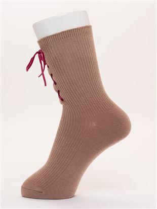 フロント編み上げリボンリブソックス18cm丈|クルーソックス