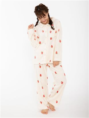 いちご柄マイクロファイバーパジャマ|パジャマ