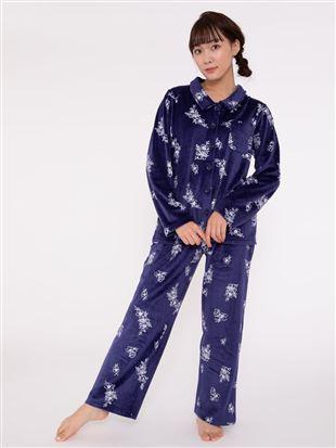 花柄ストレッチベロアパジャマ|パジャマ