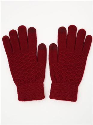 ダイヤ柄5本指手袋(スマホ対応)|手袋