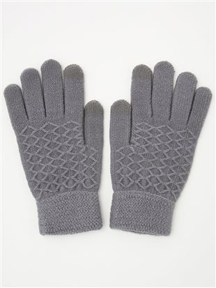 ダイヤ柄5本指手袋(スマホ対応)|