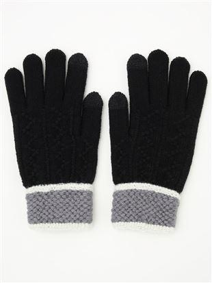手首切替ジグザグ柄5本指手袋(スマホ対応)|