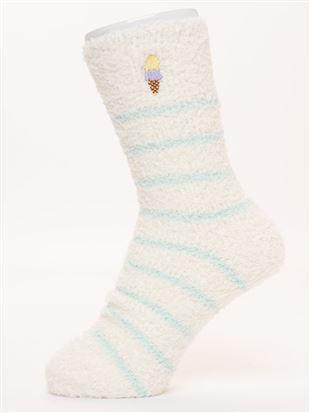 ソフトクリーム刺繍ルームソックス18cm丈|ルームソックス