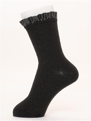 履き口レザー風フリル付き縄柄ソックス16cm丈|