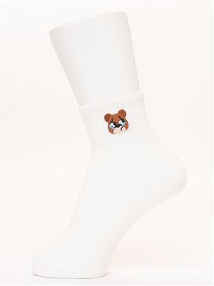 綿混くまちゃんぴえん刺繍アメリブソックス10cm丈|クルーソックス