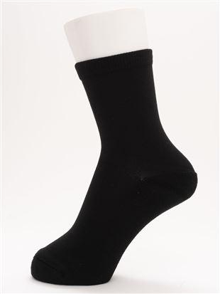[ちょうどいい靴下]幅広口ゴム足底パイル無地温調ソックス16cm丈 クルーソックス