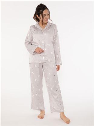 猫柄サテンパジャマ|パジャマ