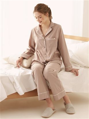 パイピング無地布帛パジャマ|パジャマ